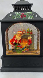 Lighted Snow Globe Lantern with hand-painted accents - Santa by the Fireplace