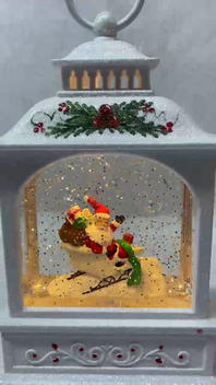 Lighted Snow Globe White Glitter Lantern with hand-painted accents - Santa Flying in Sleigh