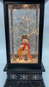 SOLD OUT Lighted Musical Snow Globe Lantern with hand-painted accents - Snowman with forest animals