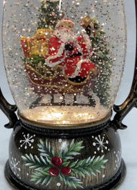 SOLD OUT Lighted Snow Globe Lantern with hand-painted accents - Santa in Sleigh