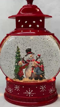 Lighted Snow Globe Red Lantern with hand-painted accents - Children Building Snowman