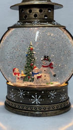 Lighted Snow Globe Lantern with hand-painted accents - Snowmen Carolers