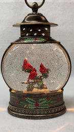 Lighted Snow Globe Lantern with hand-painted accents - Cardinals