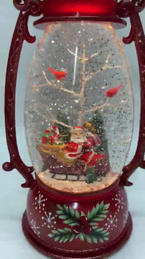 SOLD OUT Lighted Snow Globe Red Lantern with hand-painted accents - Santa in Sleigh & Cardinals