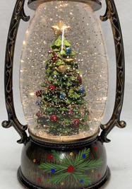 SOLD OUT Lighted Snow Globe Lantern with hand-painted accents - Christmas Tree