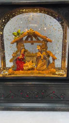 Lighted Snow Globe Lantern with hand-painted accents - Nativity Family