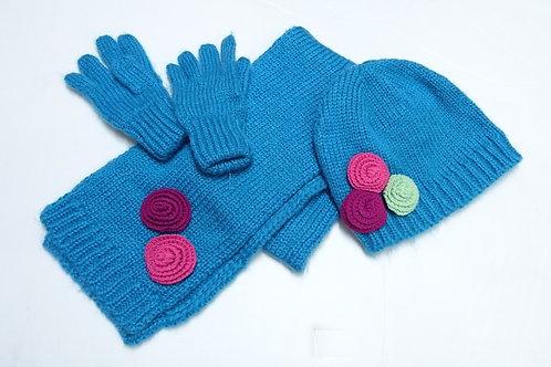 女童冷帽+圍巾+手套