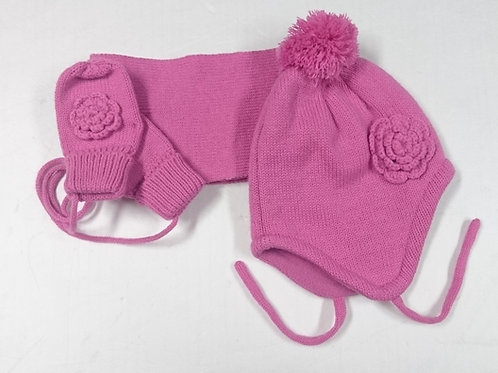 女童帽+手襪+圍巾 Girls Hat+Mittens+Scarf