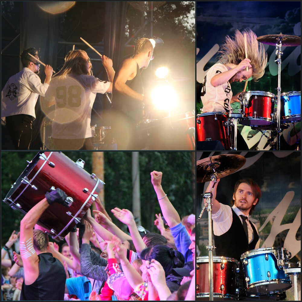 барабанное шоу барабанщиков, кавер группа hook, drum show of drummers