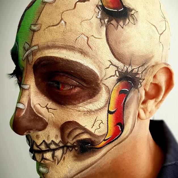 גולגולת ריאליסטית- ציור פנים ועל קרחת