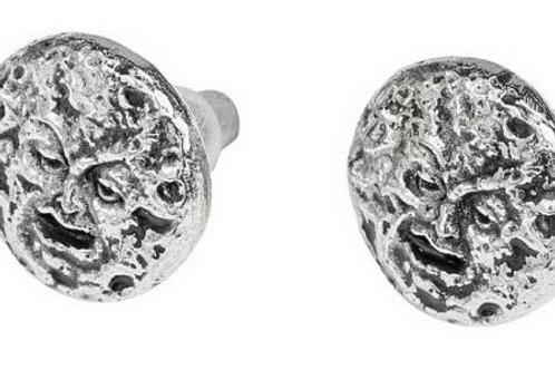 Le Voyage dans la Lune (man in the moon) pewter earrings