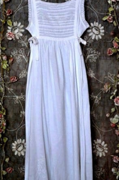 Mina ~ White Cotton Night Dress~ with embroidery & additional side Ties
