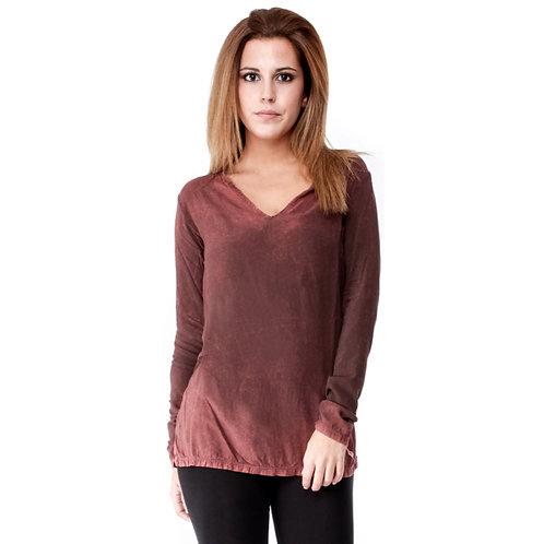V-neck deep red vintage long sleeved top