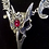 Thumbnail: Vampire Ball ~ Raven Skull necklace ~ with blood red Swarovski crystal