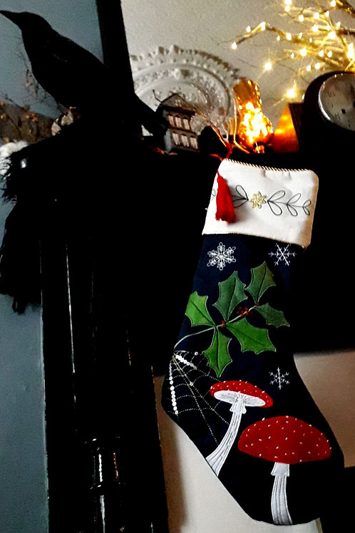 Midnight blue embroidered spiders web & poisonous toadstool stocking