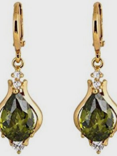 Victorian gold plate dropper earrings  ~ Absinthe cubic zurconia - gold plated e