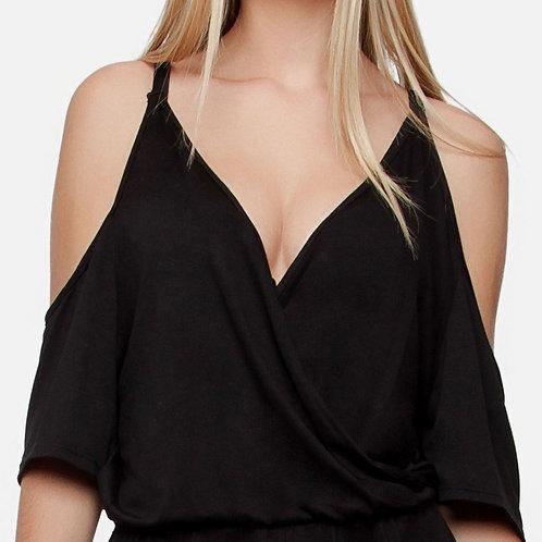 Black cold shoulder bohemian dress