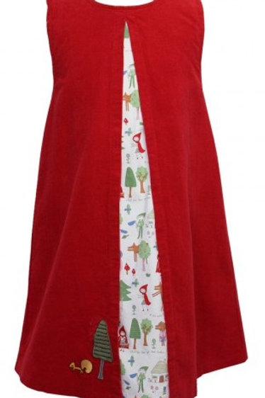 Red Riding Hood  'A' line Dress - with printed under-dress