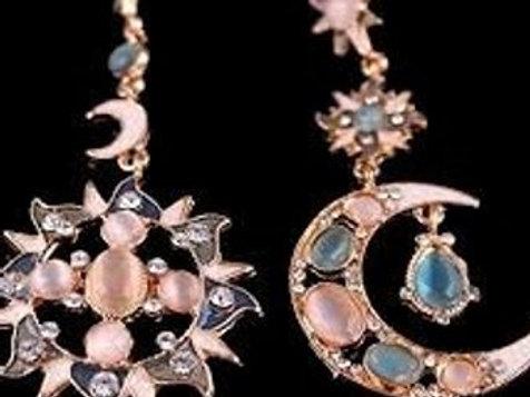 As the sun dips the moon rises earrings