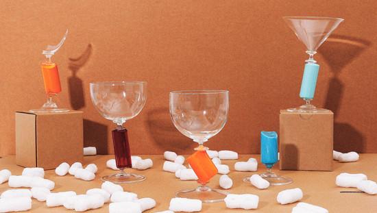 Colour bar goblet R072 celadon / G072 scarlet / R721 orange yellow / R081 pastel blue