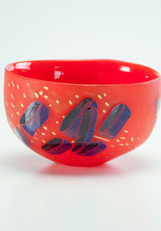 Painted Tea Bowl Red