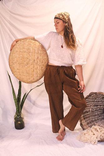 """calça 100% linho tingida naturalmente com cogumelos (série """"micorriza"""")"""