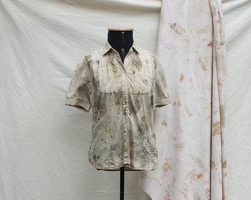 camisa garimpada em brechó feita c/ ecoprint