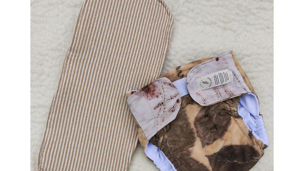 fralda ecológica com ecoprint - tam. M algodão orgânico e lã feltrada