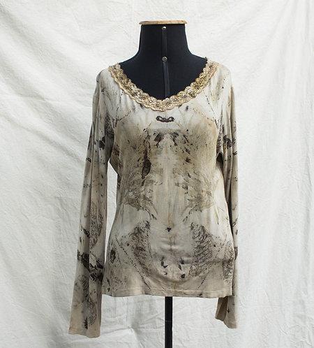 camiseta de malha com ecoprint
