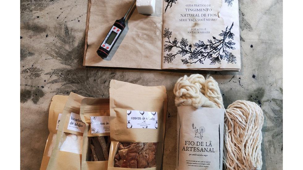"""kit """"faça você mesmo"""" tingimento de fios de lã e algodão"""