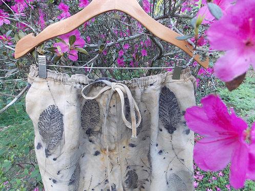 pantacourt de algodão com impressão botânica
