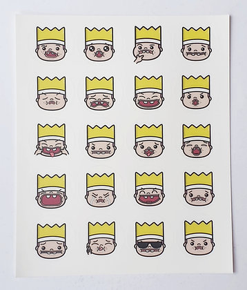 Greedy King Faces Sticker Set