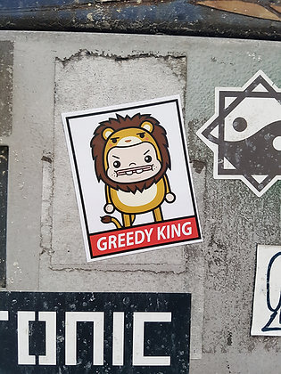 Greedy Lion Sticker