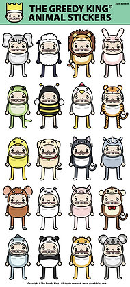 Greedy King Animal Sticker Set