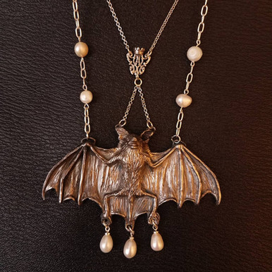 Silver Victorian design inspired bat necklace