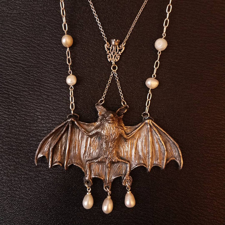 Silver Victorian design inspired bat necklace