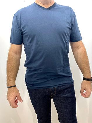 T-Shirt marine col V