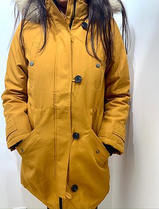 Manteau chaud à capuche moutarde