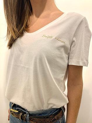 """Tee-Shirt """"Super mum"""" blanc"""