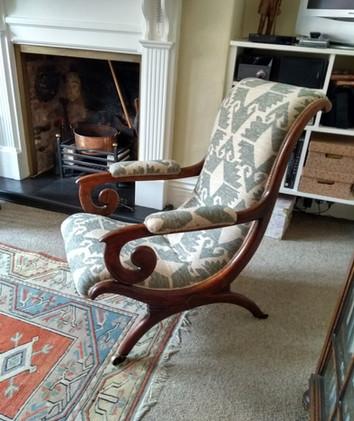 Finished Regency X frame armchair