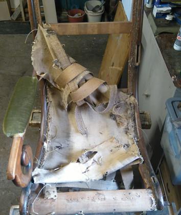 Regency X frame armchair restoration 1