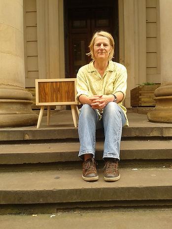 Kath Fernie on gallery steps