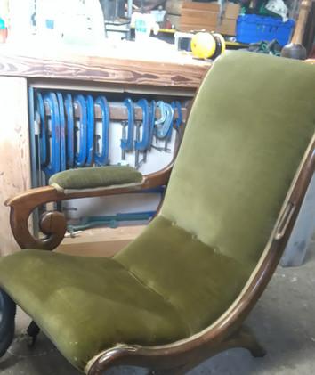 Regency X frame armchair before restoration