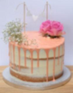 semi naked flower cake