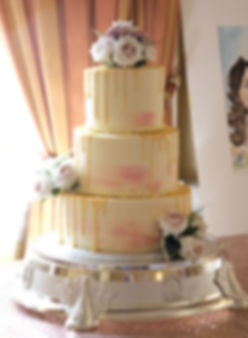 watercolour gold drip wedding cake