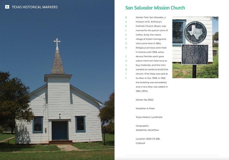 San Salvador Mission, Historical Marker.