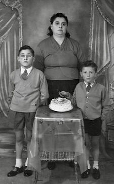 Gino and brother with mother circa 1955