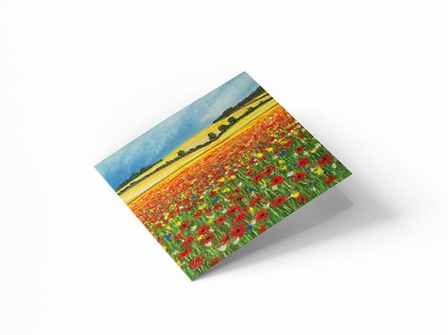"""Wild Flower Meadow 6"""" x 6"""" Square Greetings Card"""