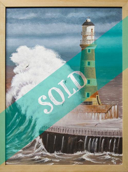Roker Lighthouse Original Oil Painting