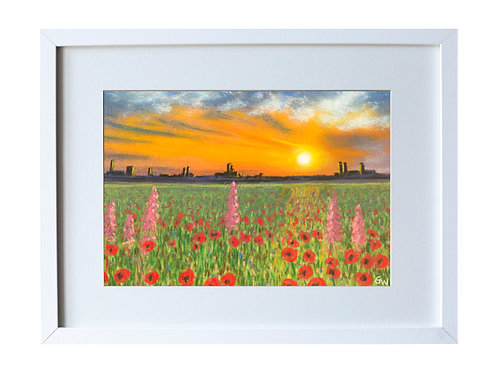 Flower Meadow at Sunset Original Pastel Drawing